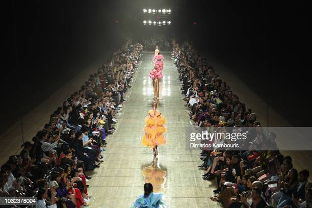View of the runway finale at the Marc Jacobs Spring 2019 Runway Front Row during New York Fashion Week: The Shows at Park Avenue Armory on September...