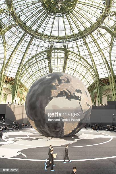 View of the runway prior to the Chanel Fall/Winter 2013 Ready-to-Wear show as part of Paris Fashion Week at Grand Palais on March 5, 2013 in Paris,...