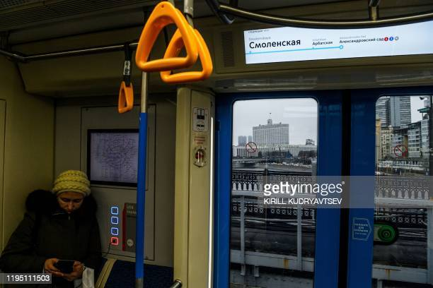 A view of the Russian Government building from a subway car in downtown Moscow on January 21 2020 Prime Minister Mikhail Mishustin is to propose a...