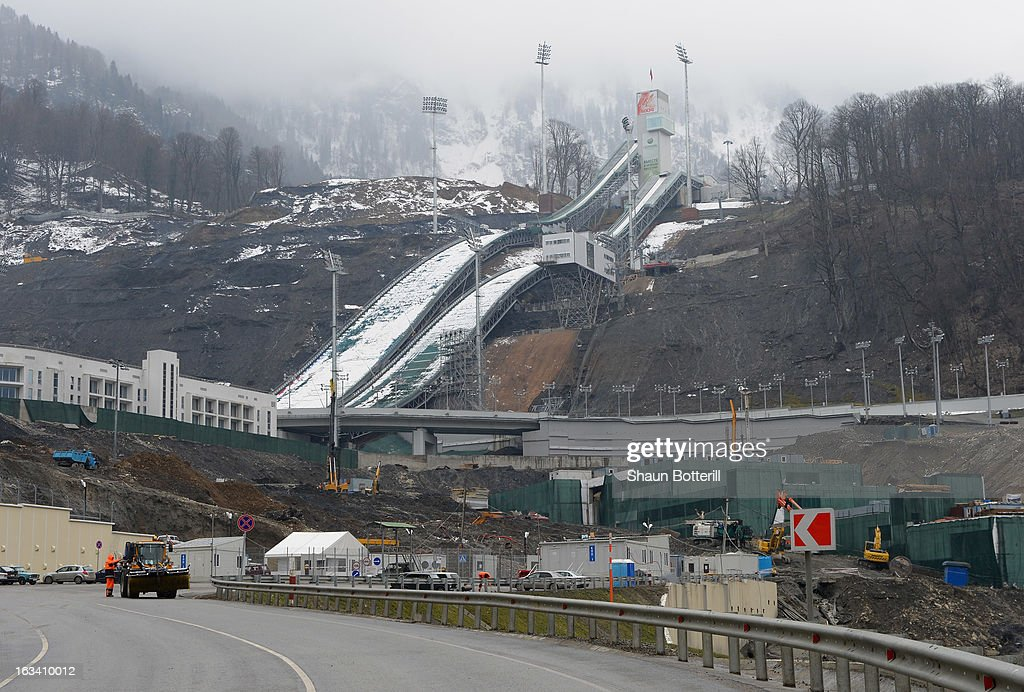 A view of the RusSki Gorki Ski Jumping Center on March 9, 2013 in Sochi, Russia.