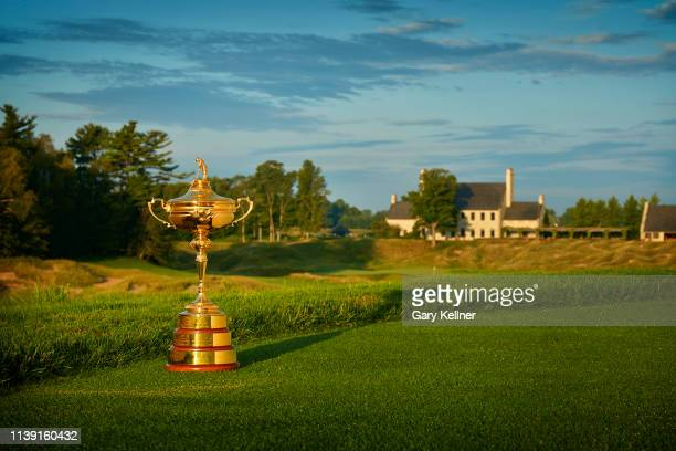 View of the Ryder Cup Trophy at Whistling Straits Golf Course on October 15, 2018 in Sheboygan, Wisconsin.