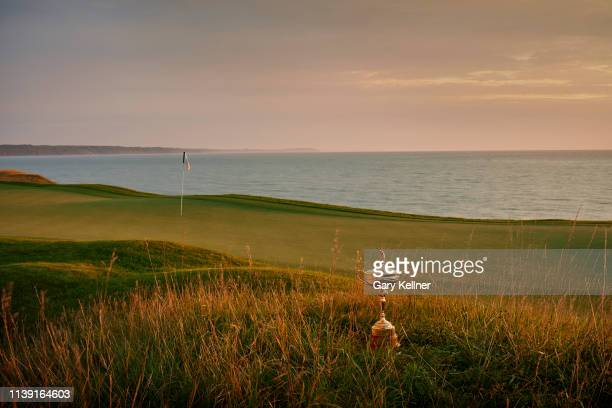 View of the Ryder Cup trophy from 17th hole of Whistling Straits Golf Course on October 15, 2018 in Sheboygan, Wisconsin.