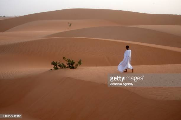 A view of the Sahara Desert in Nouakchott Mauritania on August 18 2019 Local and foreign tourists in Mauritania do not leave the country without...