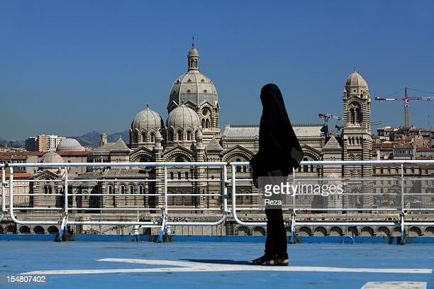 View of the Saint Mary Major of Marseille cathedral on July 11 built in the second half of the 19th century in a RomanByzantine style A passenger on...