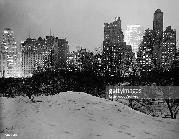 View of the Saint Moritz Hotel and 59th Street from Central Park New York 1930 The Plaza Hotel is at the left