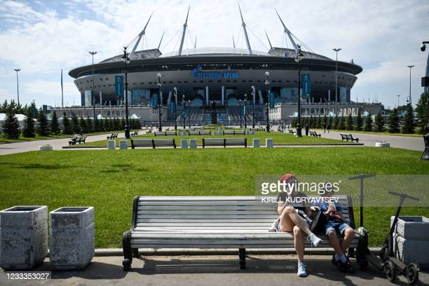 View of the Saint Petersburg Stadium, one of the host venues for the UEFA EURO 2020 football tournament, in Saint Petersburg on June 9, 2021. - The...