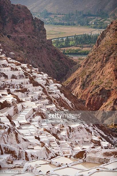 a view of the salinas de maras (salt pools) - ソルトポンド ストックフォトと画像