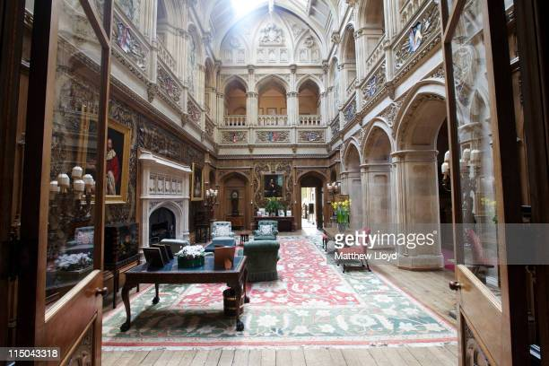View of the saloon in Highclere Castle on March 15, 2011 in Newbury, England. Highclere Castle has been the ancestral home of the Carnarvon family...