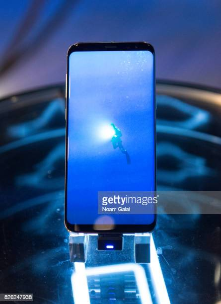 A view of the Samsung Galaxy S8 on display at Samsung 837 on August 3 2017 in New York City