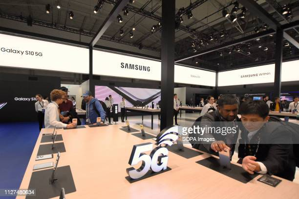 L´HOSPITALET CATALONIA SPAIN A view of the Samsung stand at the Mobile World Congress in Barcelona
