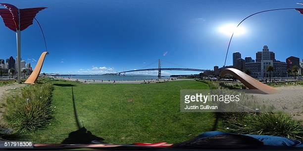 A 360 view of the San Francisco Bay Bridge on March 28 2016 in San Francisco California