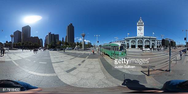 A 360 view of the San Francisco Ferry Building on March 28 2016 in San Francisco California