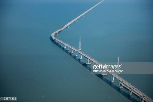 View of the San Mateo-Hayward Bridge is seen from Air Force One on October 8, 2012 in San Mateo, California. The bridge links Foster City to Hayward...