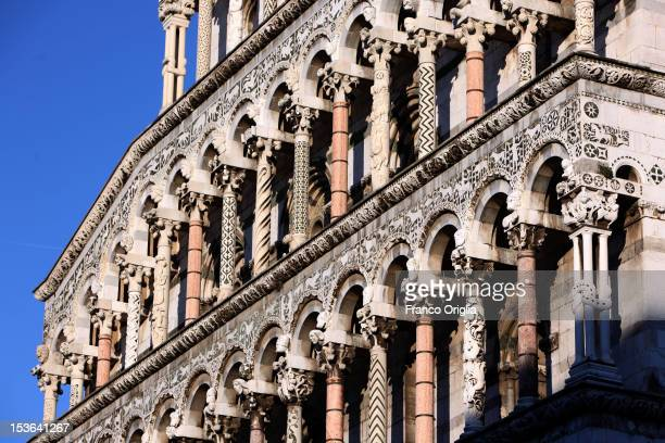 A view of the San Michele in Foro church on January 3 2012 in Lucca Italy Lucca is a city in Tuscany situated on the river Serchio in a fertile plain...