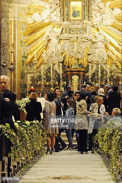 A view of the Sanctuary of Madonna di Montenero is seen before the wedding of Italian singer Andrea Bocelli with Veronica Berti on March 21 2014 in...