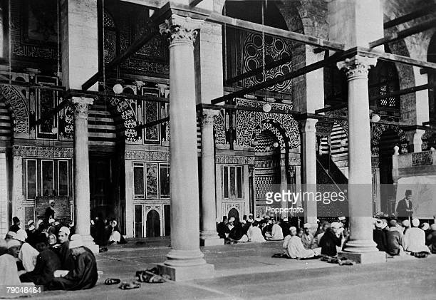 circa 1940's The mosque of El Mouayad with lessons in the Koran in progress