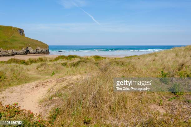 view of the sand dunes, beach and cliffs at mawgan porth, cornwall - イングランド コーンウォール ストックフォトと画像