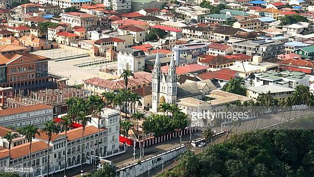 A view of the Santa Isabel Cathedral in the Equatorial Guinea capital Malabo on April 22 2016 / AFP / STR