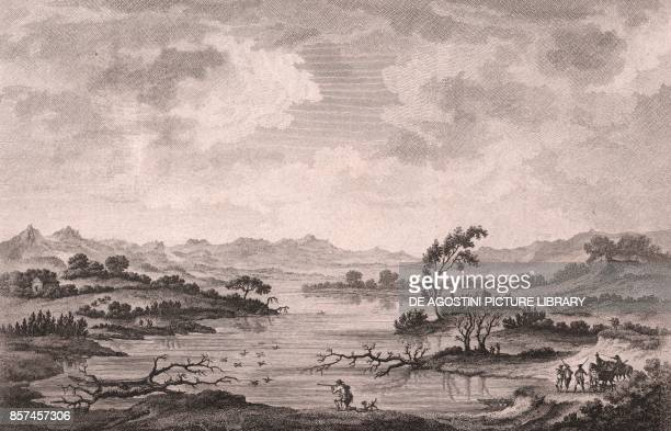 View of the Santa Palagina Lake the ancient harbor of Metaponto Basilicata Italy etching ca 24x18 cm from Voyage pittoresque a Naples et en Sicile...