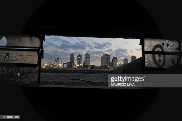 View of the Santo Andre neighborhood from inside an abandoned factory in the northern metropolitan area of Sao Paulo Brazil on August 29 2010...