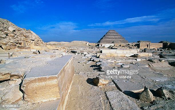 View of the Saqqara Necropolis the Pyramid of Djoser in the background Memphis Egypt Egyptian civilisation Old Kingdom Dynasty III