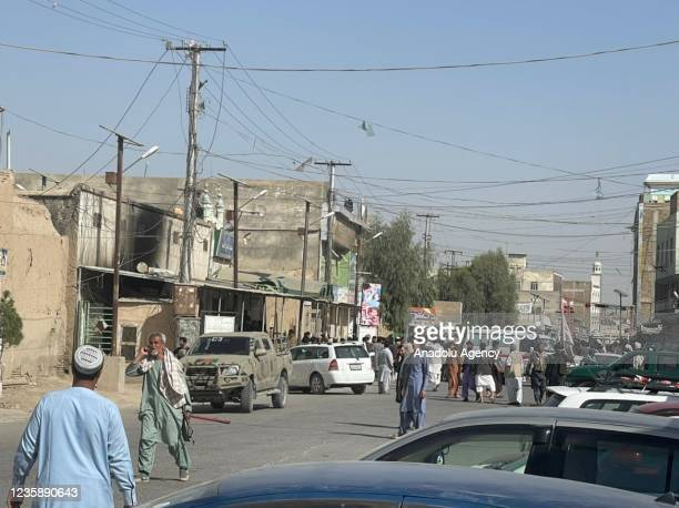 View of the scene after a bomb blast hits Shia community mosque in Afghanistanâs southern Kandahar province on October 15, 2021