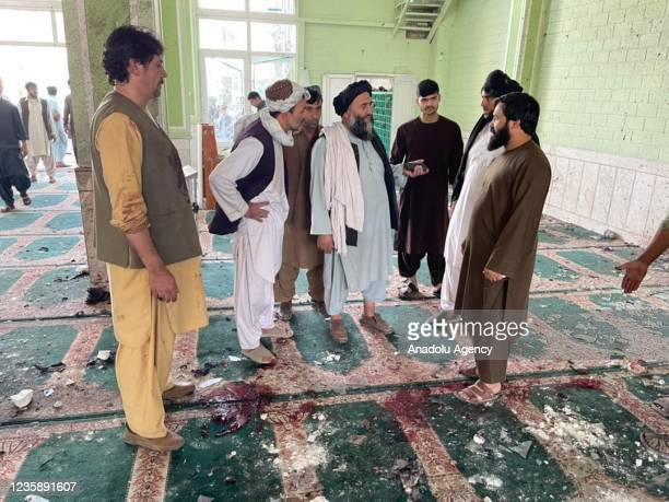 View of the scene after a bomb blast hits Shia community mosque in Afghanistanâs southern Kandahar province on October 15, 2021. The bomb blast hit a...