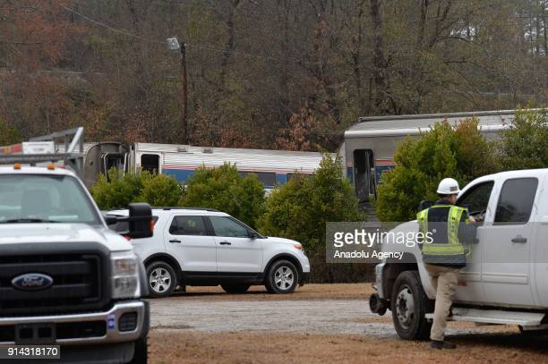A view of the scene after a deadly train accident near Columbia SouthCarolina in USA on February 4 2018 Two people were killed when an Amtrak...