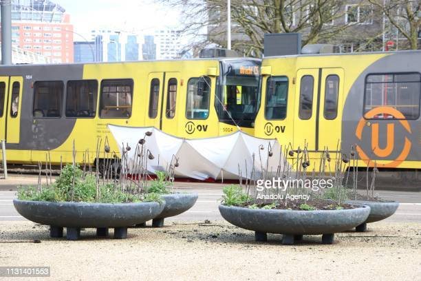 View of the scene after a gunman opened fire on tram passengers in Utrecht, Netherlands on March 18, 2019. The attack was carried out at October 24...