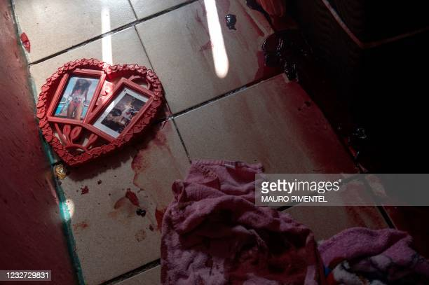 View of the scene where an alleged drug trafficker was reportedly killed by civil police while trying to escape and ran into the room of a...