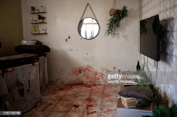 View of the scene where an alleged drug trafficker was reportedly killed by civil police in Jacarezinho favela, Rio de Janeiro, Brazil on May 6,...