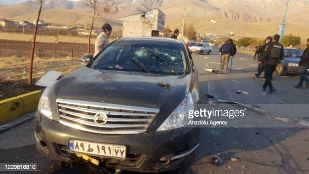 View of the scene where Mohsen Fahrizade, Iran's chief military nuclear scientist, has been killed in a terror attack in Absard, Iran on November...