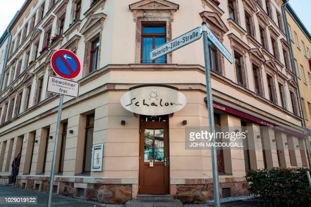 View of the Schalom Jewish restaurant in Chemnitz eastern Germany taken on September 8 2018 Masked assailants hurled rocks and bottles at a Jewish...