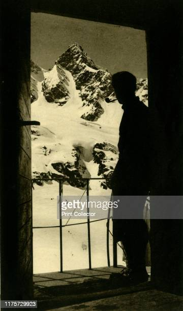 View of the Schattenspitze in the Silvretta Alps from the Wiesbadener Hütte Partenen Austria circa 1935 Balcony overlooking mountains in the...
