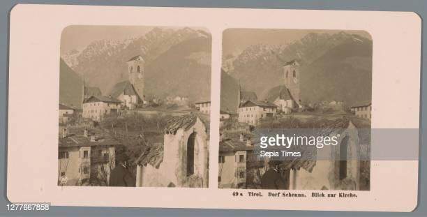View of the Schenna Tirol church. Klausen. IV , city view in general, 'veduta', mountains, church , Neue Photographische Gesellschaft , Schenna, c....