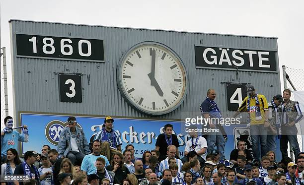 View of the score board after the match of the Second Bundesliga between TSV 1860 Munich and LR Ahlen at the Grunwalder Stadium on May 22 2005 in...