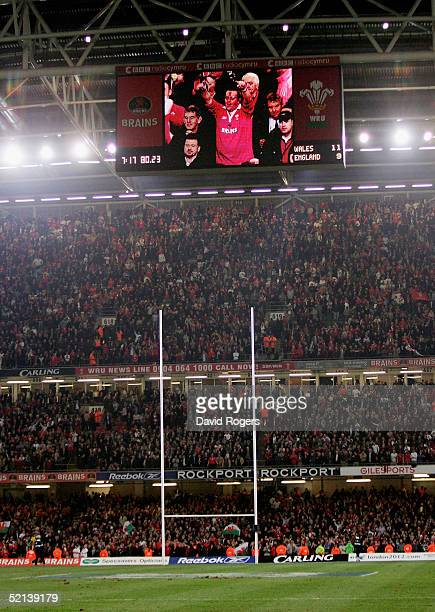View of the score board shows Welsh fans celebrating the win after the RBS Six Nations International between Wales and England at The Millennium...
