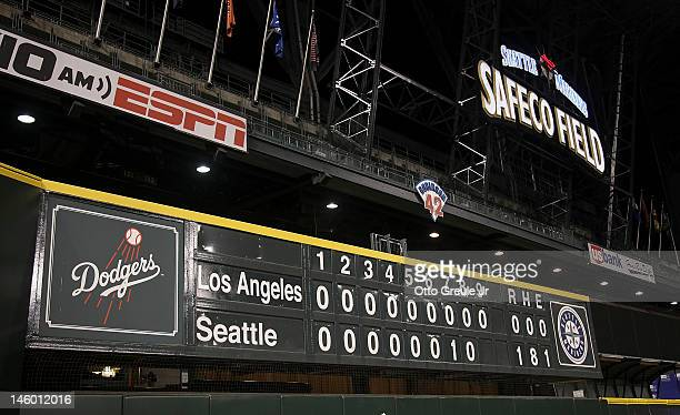 View of the scoreboard after the Seattle Mariners defeated the Los Angeles Dodgers 1-0 in a combined no-hitter at Safeco Field on June 8, 2012 in...