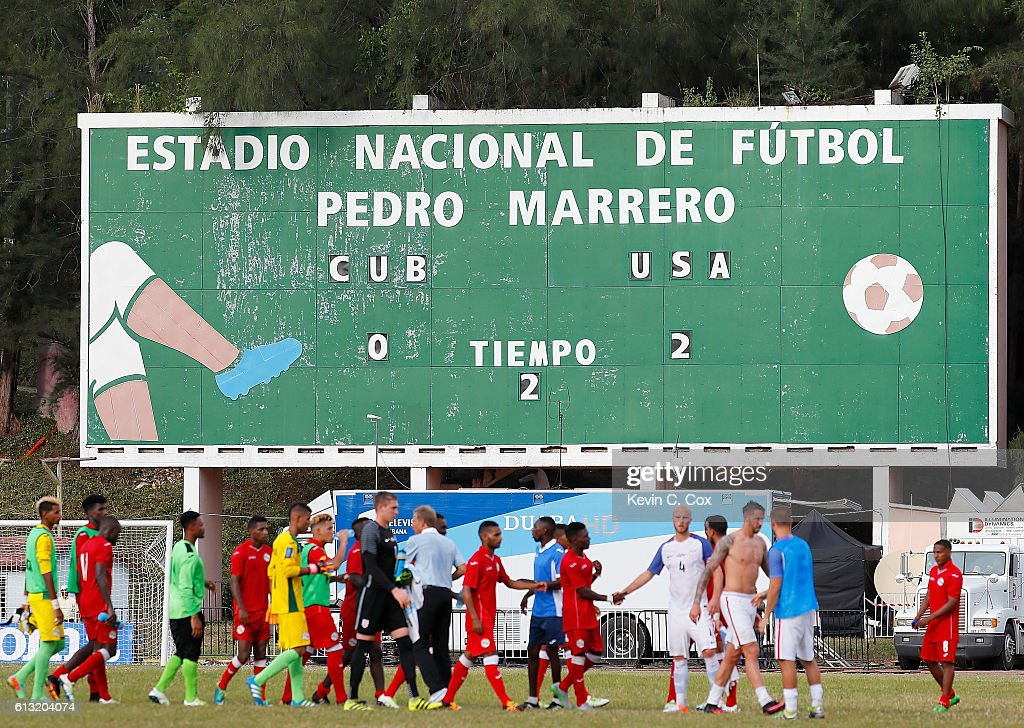 A view of the scoreboard after the United States defeated Cuba 2-0 at Estadio Pedro Marrero on October 7, 2016 in Havana, Cuba.