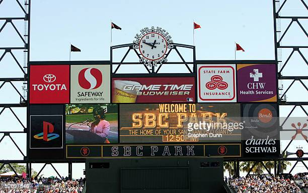 A view of the scoreboard at SBC Park as the San Francisco Giants host the Los Angeles Dodgers on April 5 2005 in San Francisco California The Giants...