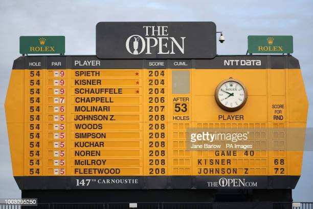 View of the scoreboard at the end of day three showing USA's Jordan Spieth, USA's Kevin Kisner and USA's Xander Schauffele top of The Open...