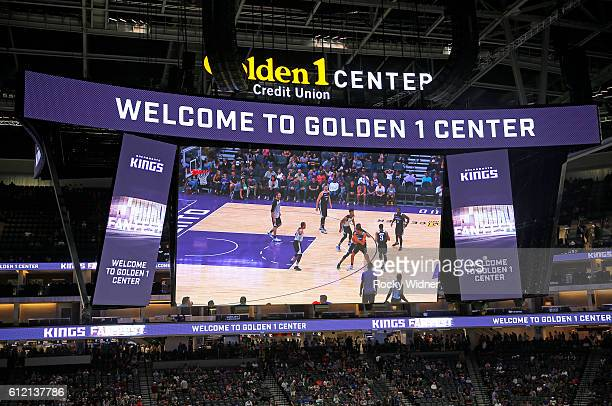 A view of the scoreboard at the Sacramento Kings new arena during Fan Fest on October 1 2016 at the Golden 1 Center in Sacramento California NOTE TO...