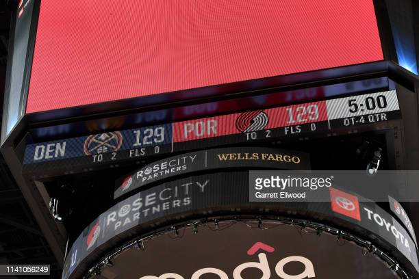 A view of the scoreboard at the start of the fourth overtime between the Denver Nuggets and the Portland Trail Blazers during Game Three of the...