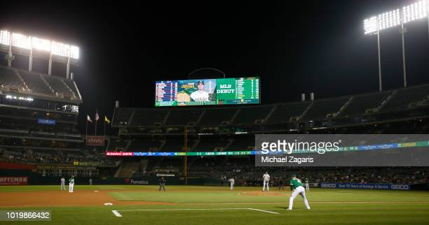 A view of the scoreboard before Ramon Laureano of the Oakland Athletics hit a walkoff single during the game against the Detroit Tigers at the...