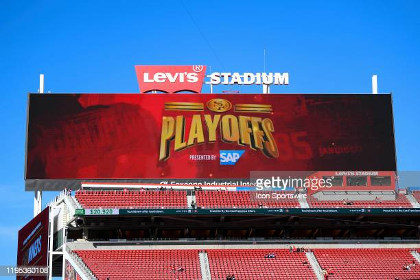 A view of the scoreboard before the NFC Divisional Playoff game between the Minnesota Vikings and the San Francisco 49ers on January 11 at Levi's...