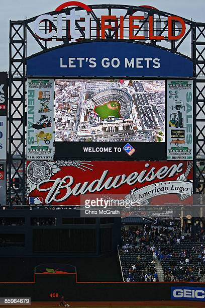 A view of the scoreboard before the start of the San Diego Padres against the New York Mets during opening day at Citi Field on April 13 2009 in the...