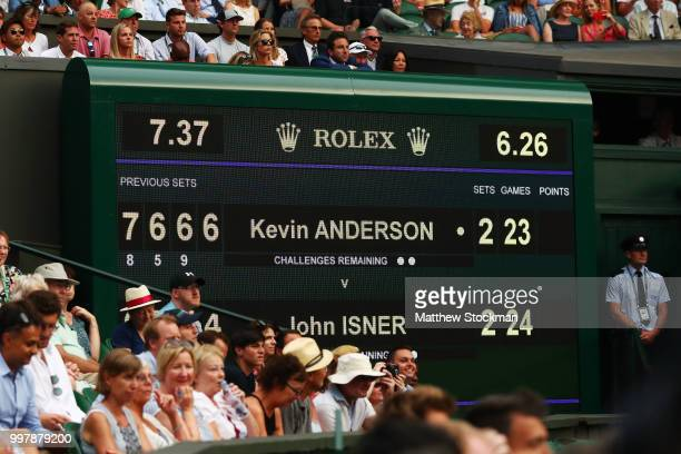 A view of the scoreboard during the Men's Singles semifinal match between John Isner of The United States and Kevin Anderson of South Africa on day...