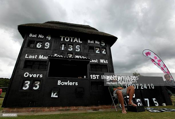 View of the scoreboard during the One Day International match between England Women and Australia Women at Wormsley Cricket Ground on July 5, 2009 in...