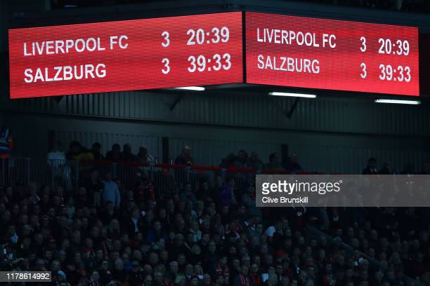A view of the scoreboard during the UEFA Champions League group E match between Liverpool FC and RB Salzburg at Anfield on October 02 2019 in...
