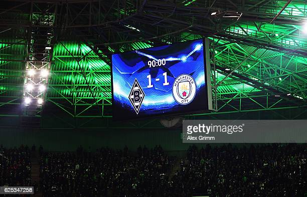 A view of the scoreboard showing a 11 draw after the UEFA Champions League match between VfL Borussia Moenchengladbach and Manchester City FC at...